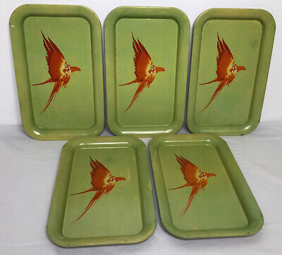 Green and Yellow Mid-Century Pair of Blue Parrot Serving Trays