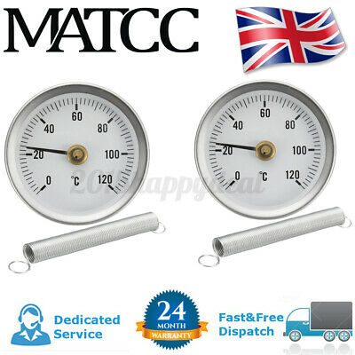 2x 63mm 0-120℃ Water Pipe Thermomter Clip ON Temperature Temp Guage Meter Spring