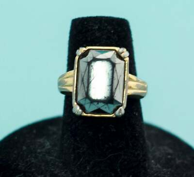 Vintage 14k Gold Plated Gemstone Thin Ring Size 6  E19