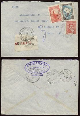 Airmail Registered Argentina 1937 Library Cover >France