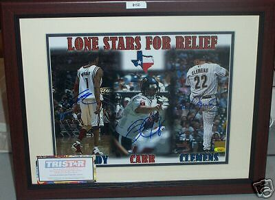 Roger Clemens Tracy McGrady David Carr signed framed 11x14 photo TRISTAR