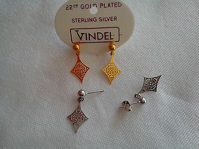 EARRINGS,22ct GOLD PLATED or 925 STERLING SILVER FILIGREE DROP STUDS