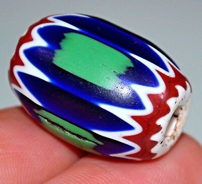 Antique Venetian Six Layer Chevron Drawn Glass Bead Green Stripes, African Trade