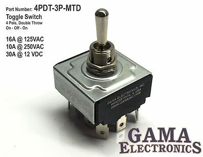 4 Pole, 2 Throw  On-Off-On Toggle Switch  - Maintained - 4PDT-3-MTD
