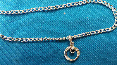 925 Sterling Silver Curb Chain Anklet,genuine Sapphire