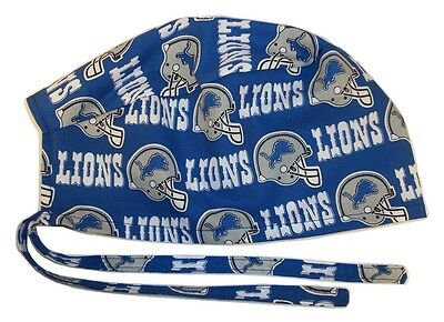 Surgical Scrub Hat Cap Made with Detroit Lions NFL Fabric Nurse Chemo ER Skull