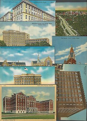 LOT of 8 DALLAS TEXAS Linen Cards~PO/Churches/Hospitals/Merch Mart/Expressway