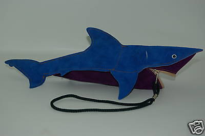 Leather shark pouch,  blue with purple tummy