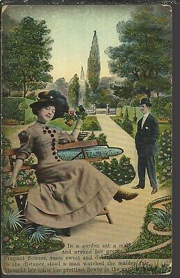 Maid in the Garden ~ VINTAGE 1909 Hand Colored ~Germany