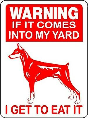 Doberman Pinscher Guard Dog Aluminum Sign Warning D2669