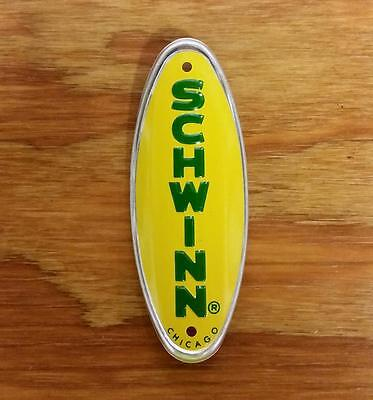 Schwinn Bicycle Plate Head Badge Schwinn Approved Yellow With Green Letter