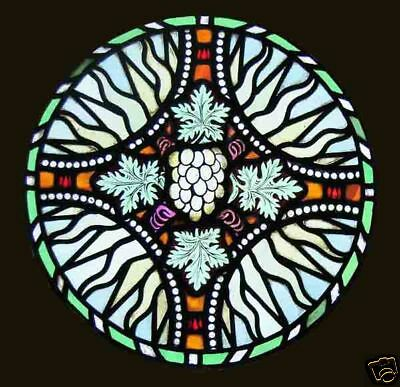 Circular Antique Painted Stained Glass Window FREE Worldwide Insured Shipping