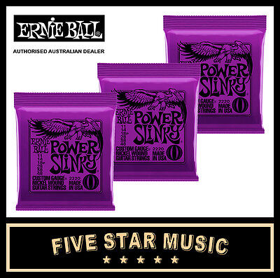3 Sets Ernie Ball Power Slinky 2220 Electric Guitar Strings 11-48 New E2220