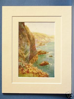 POLRUAN CORNWALL VINTAGE DOUBLE MOUNTED HASLEHUST PRINT 10X8 OVERALL IDEAL GIFT
