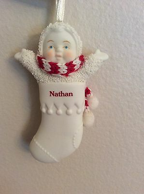 """Dept. 56 Snowbabies 3"""" Stocking Personalized Nathan"""