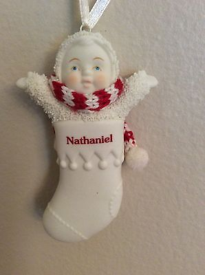 "Dept. 56 Snowbabies 3"" Stocking Personalized Nathaniel"