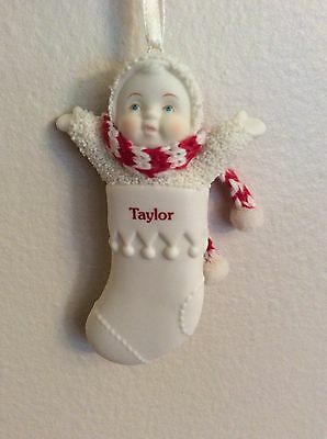 """Dept. 56 Snowbabies 3"""" Stocking Personalized Taylor"""