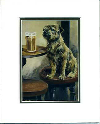 Border terrier card, mounted ready to frame. M Cawston