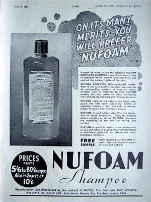NUFOAM Soapless Shampoo - 1937 Deco Hairdressing ADVERT