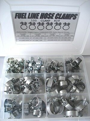 Fuel Line Hose Clamps Kit (100 clamps) - Assorted Sizes