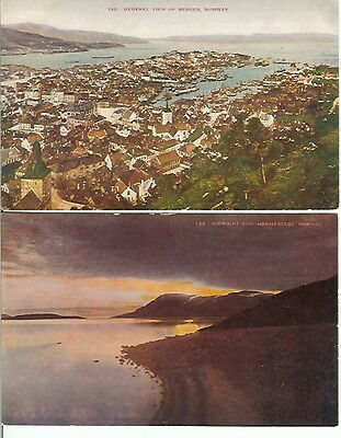 LOT of 2 BERGEN & HAMMERFEST, NORWAY VINTAGE POSTCARDS