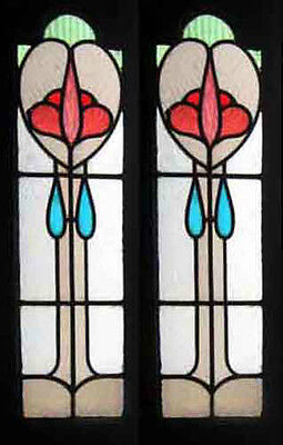 Beautiful Pair Art Nouveau Antique English Stained Glass Sidelights