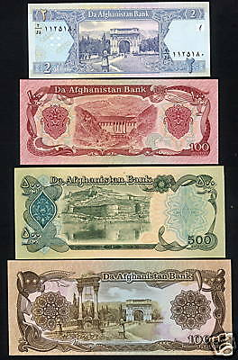 Afghanistan Bank Notes  Perfectly fresh Uncirculated 2,100,500 & 1000 Afghanis/