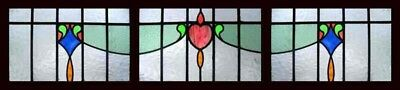Amazing Set Of 3 Art Deco English Stained Glass Windows