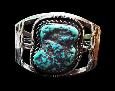 Turquoise Nugget Cuff Bracelet - Navajo Handmade