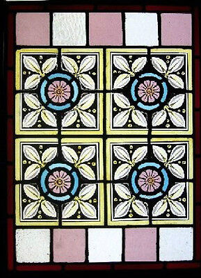 Victorian Painted English Antique Stained Glass Window