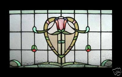 Art Nouveau Tulip Stunning Antique English Stained Glass Window