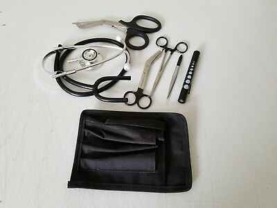 Black Paramedic Set - Diagnostic EMT Nursing EMS Emergency Stethoscope