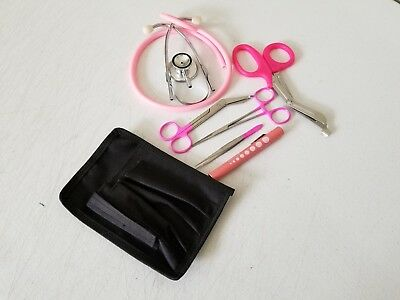 Pink Paramedic Set - Diagnostic EMT Nursing EMS Emergency Dual Head  Stethoscope