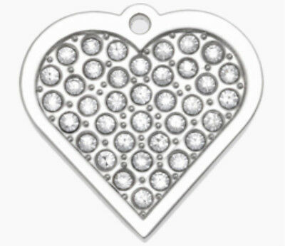 Dog Cat Id Tag Disc Engraved Designer Med Silver Heart