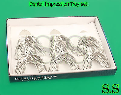 12 Dental Impression Tray set Solid/perfor Instruments