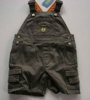NWT Gymboree BUG DETECTIVES Brown Overalls Shorts Boys Size 12-18 Months