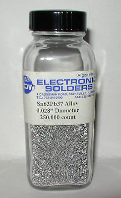 "250,000 SOLDER SPHERES FOR BGA 0.028"" DIAMETER Sn63"