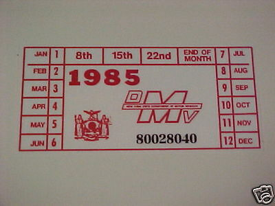 new york 1985 registration sticker for windshild