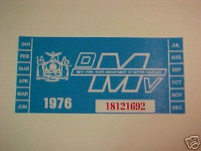 new york 1976  registration sticker for windshild