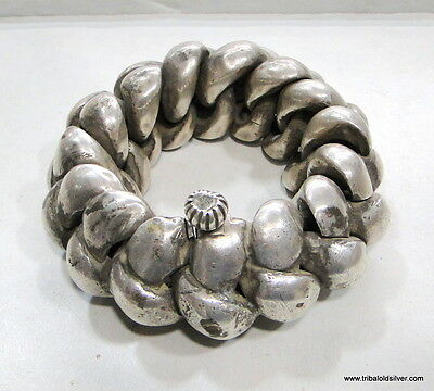 Rare! Antique Collectible Ethnic Tribal Old Silver Huge Anklet Bracelet India