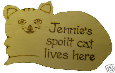 Personalised wooden cat plaque/sign gift for cat lovers, hand made, novelty