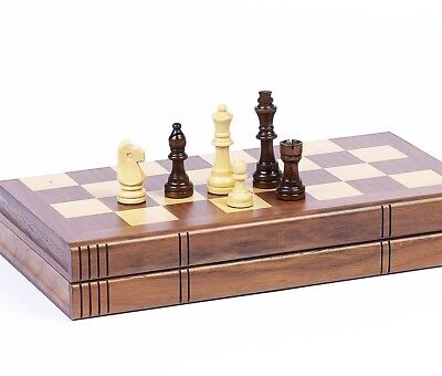 "Chess Set Weighted Felted Chessmen 2.5"" King Inlaid Storage Walnut Book Style"