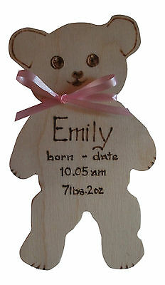 Personalised WoodenTeddy Bear Baby Plaque Sign Gift Keepsake Handmade unbranded