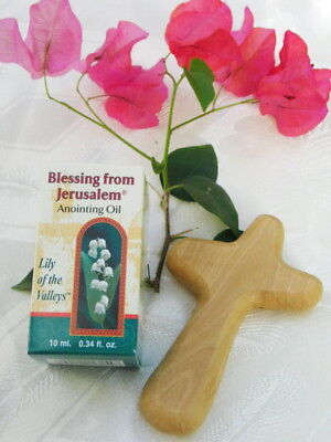 Olive Wood Comfort Cross Holy Anointing Oil Lily Valley Bethlehem Christian Gift