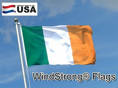 4x6FT 4 x 6 FT Strong Irish Ireland Sewn Stripes SolarMax Nylon Flag Made in USA