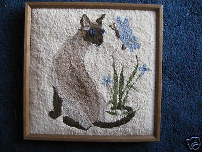 "Siamese Cat-Needlepunch-picture-15""X15""-Hand Made"
