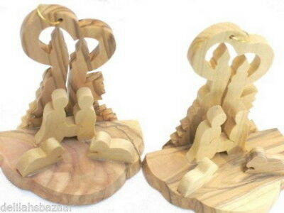 Christmas Nativity Ornaments 3 PIECES  Olive Wood XMAS Holy Land Decoration