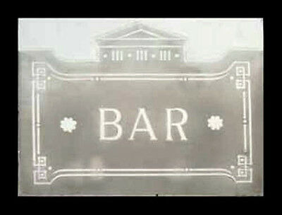 Very Old English Etched Glass Bar Window