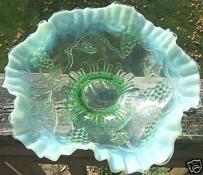 Eapg Opalescent Green Grape Cable Bowl Ruffled Edge