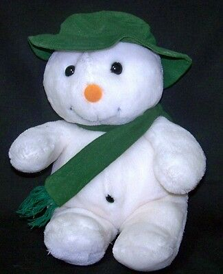 Christmas Holiday Plush Snowman Green Scarf Collectible